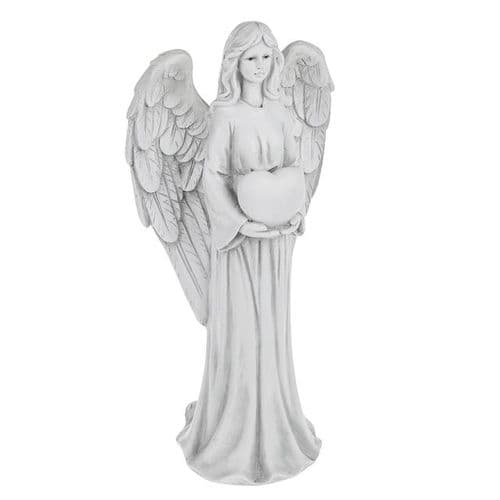 Guardian Angel with Love Heart Memorial Grave Ornament White Wing Tall Statue