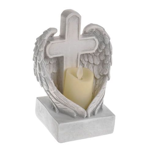 Holy Cross & Angel Wings Ornament White Stone Effect LED Flicker Candle Holder