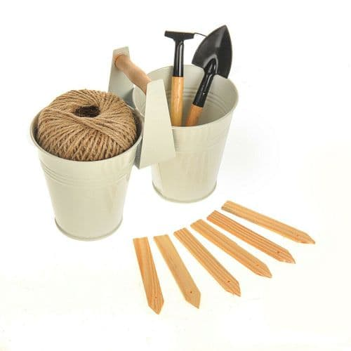 Home Grown GREEN GARDEN KIT Double Plant Pot String Mini Trowel Rake & Markers