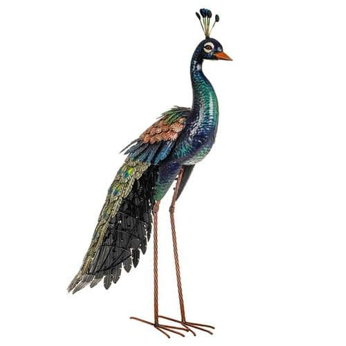 Poised Peacock Metal Garden Ornament 94 cm