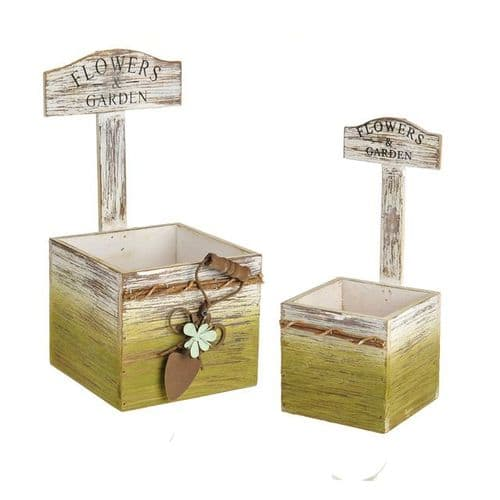 rustic country squared planter 2 set