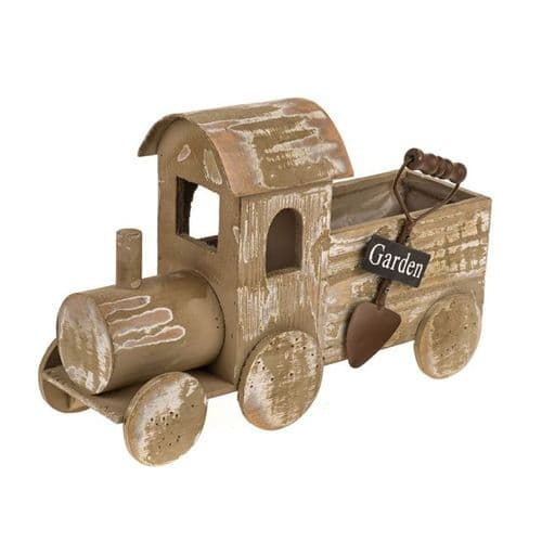 Rustic Wooden Train Planter 32cm
