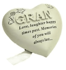 Special Gran Diamante Textured Heart Graveside Memorial Ornament Plaque