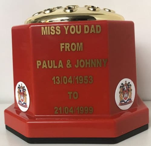 Wigan Warriors Rugby  personalised grave pot red