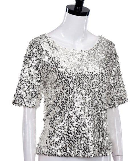 B&S - Silver sequin top