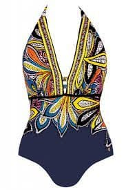 Self - Aztec  Haulter neck Swimsuit NAVY