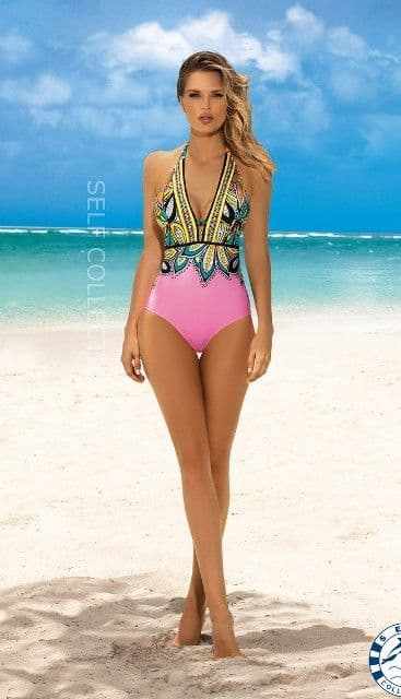 Self - Aztec  Haulter neck Swimsuit PINK