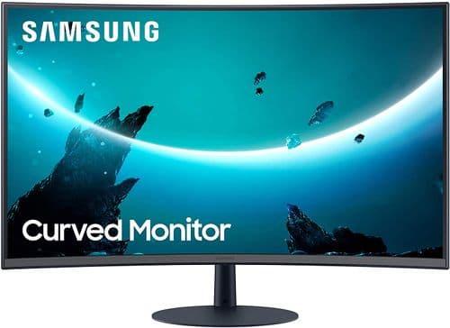 Samsung T55 Curved Monitor, 27 Inch, 1000R, 75hz, 4ms, 1080p, Dark Blue Grey