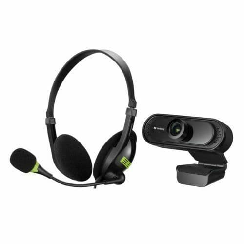 Sandberg Bundle - USB Headset with Boom Mic  & FHD USB Webcam with Mic - Soft Bundle