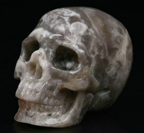 """Crazy Lace Agate Realistic Carved Gemstone Crystal Skull 2"""" Inch SK16"""