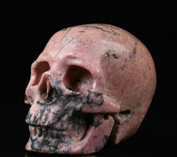 Rhodonite  Realistic Hand Carved Gemstone Crystal Skull 2
