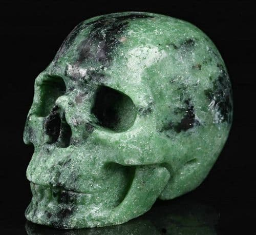 """Ruby Zoisite Realistic Carved Gemstone Crystal Skull 2"""" Inch SK04"""