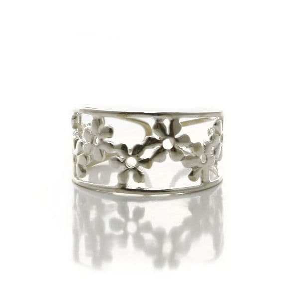 Sterling Silver Adjustable Floral Daisy Ring (R002)