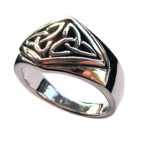 Sterling Silver Celtic Knot Twin Triquetra Pagan Finger Ring (R009)