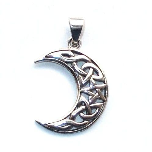 Waxing Crescent Moon Solid Sterling Silver Pendant P008