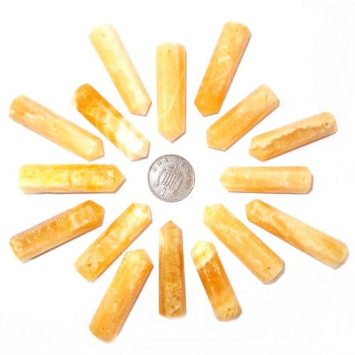 Yellow Calcite Side Drilled Hexagonal Wand ST Point
