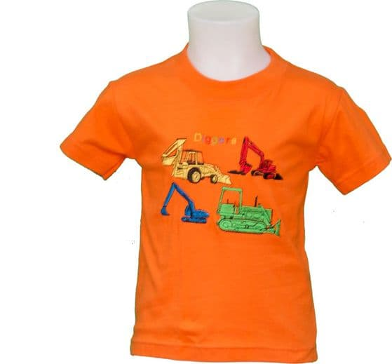 construction diggers tshirt orange