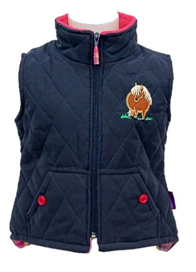 Girls Quilted Horse Bodywarmer navy