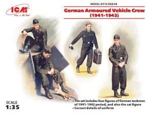 ICM35614 German Armoured Vehicle Crew (1941-1942) (WWII) (4 figures and cat) (100% new holds)