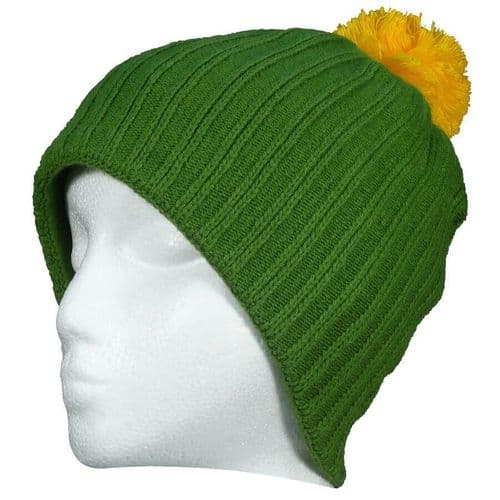 Rover Mens Bobble Hat Green Yellow with Cashmere