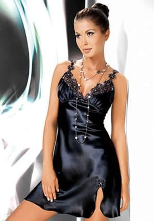 Mirabelle Black Satin Night Dress