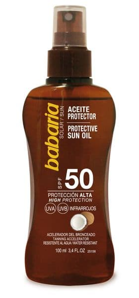 Babaria Dry Coconut Sun Oil SPF 50 100 ml travel size