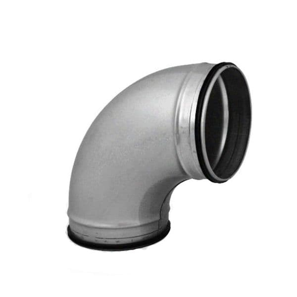 90 degree Elbow Pressed Bend Duct Fitting For Circular Spiral Ducting With Rubber Seal 100mm