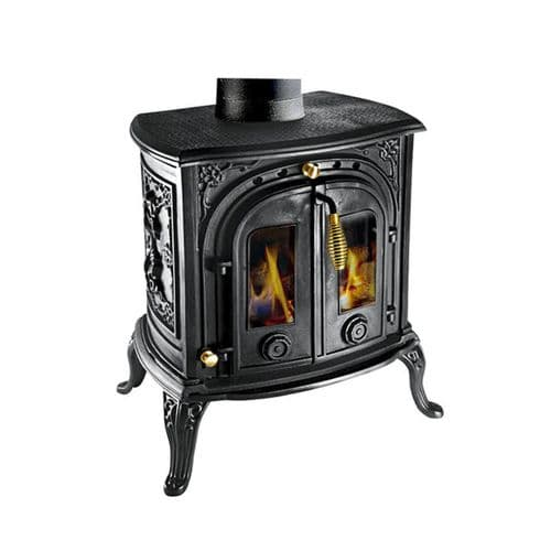 Clarke 6910105 Junior Victoria II Black Cast Iron Wood & Coal Burning Stove 24000Btu/7Kw