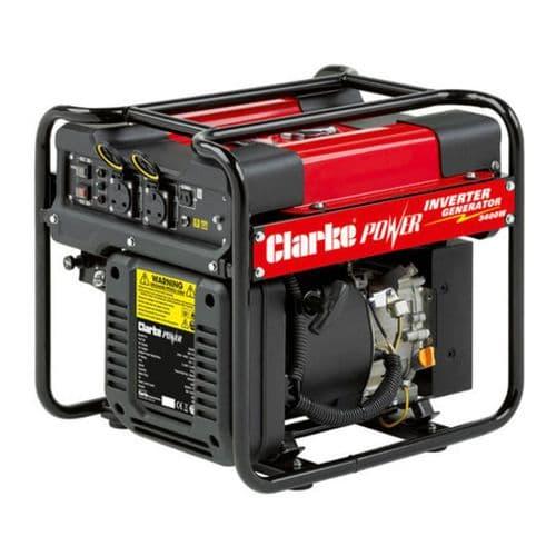 Clarke IG3500AF Open Framed Inverter Petrol Generator 3400W 12VDC And 2x230V~50Hz
