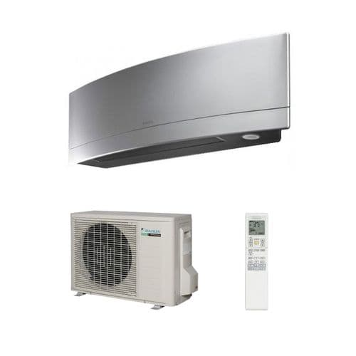 Daikin Air Conditioning Emura FTXJ35MS Brushed Aluminum Wall Mounted Inverter Heat Pump (3.5Kw/12000Btu) R32 A+++ 240V~50Hz