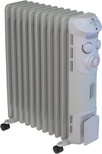 EH1369 Oil Filled Radiator With Castors 24hr Timer, 3 Heat Settings & Thermostat 2.5Kw/9000Btu