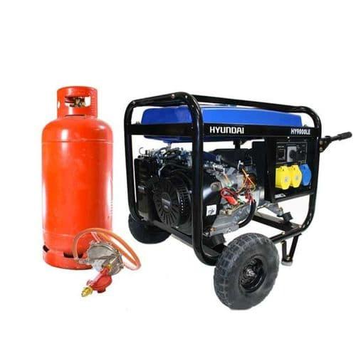 Hyundai 6.6kW Electric Start Dual Fuel Petrol/LPG Generator HY9000LEk-LPG 115/240V~50Hz