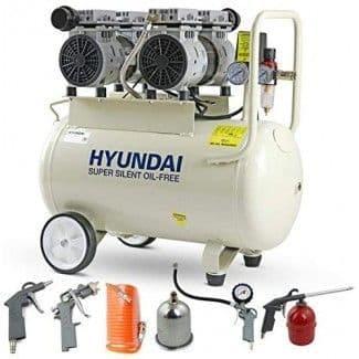 Hyundai Air Compressor HY27550-5 11CFM/100psi Oil Free Low Noise Electric 2hp 50 Litre 5 Piece Kit