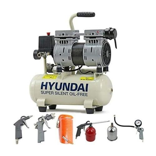 Hyundai Air Compressor HY5508+5 8 Litre 4CFM 118psi Silenced Oil Free 0.75hp with 5 Piece Kit