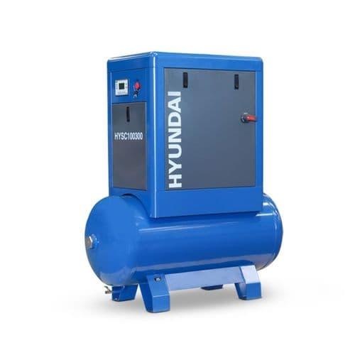Hyundai Digital 300L Tank Screw Air Compressor HYSC100300 Sound Reduction Canopy 10Hp 415V~50Hz