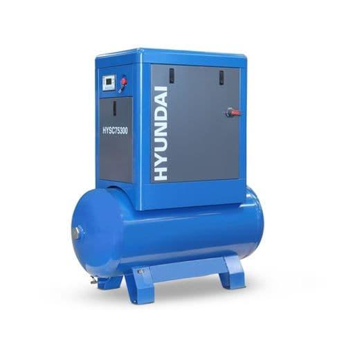 Hyundai Digital 300L Tank Screw Air Compressor HYSC75300 Sound Reduction Canopy 7.5Hp 415V~50Hz
