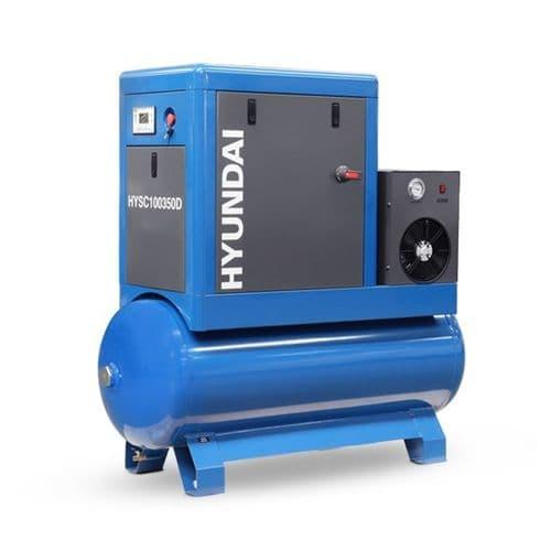 Hyundai Digital 350L Tank Screw Air Compressor HYSC100350D Sound Reduction Air Dryer 10Hp 415V~50Hz