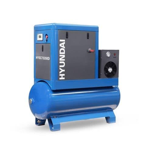 Hyundai Digital 350L Tank Screw Air Compressor HYSC75350D Sound Reduction Air Dryer 7.5Hp 415V~50Hz