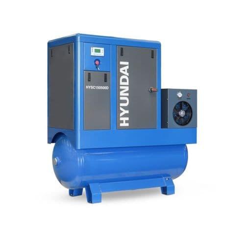 Hyundai Digital 500L Tank Screw Air Compressor HYSC150500D Sound Reduction Dryer 15Hp 415V~50Hz