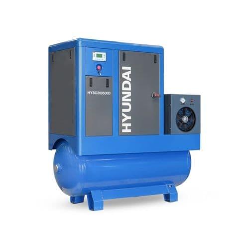Hyundai Digital 500L Tank Screw Air Compressor HYSC200500D Sound Reduction Air Dryer 20Hp 415V~50Hz