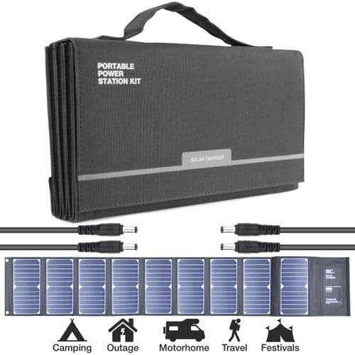 Hyundai H60 60W Portable & Foldable Solar Charger With USB & DC Connectivity