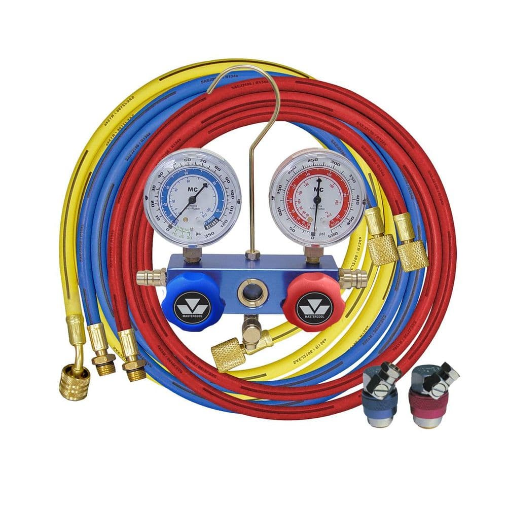 Mastercool Auto Air Conditioning R134a Gauge Manifold, Lines And High/Low Couplers Service Kit