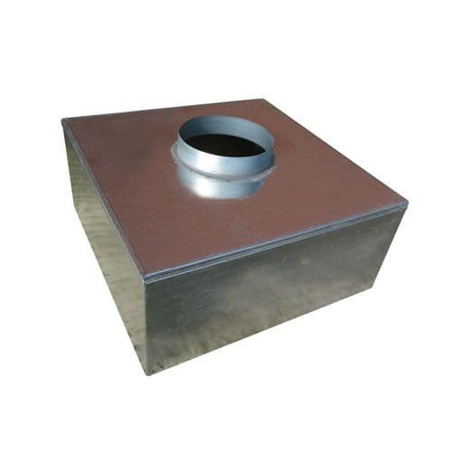 Metal 300mm Plenum Box 200mm Top Entry Spigot with Spot Welded and Primed Seam Joints