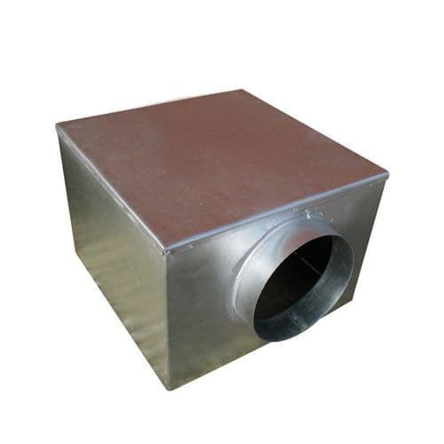 Metal 560mm Plenum Box with 150mm Side Entry Spigot with Spot Welded and Primed Seam Joints