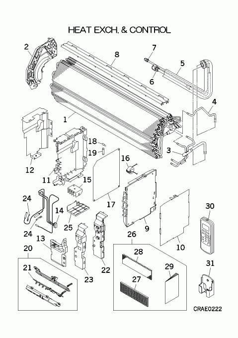Mitsubishi Heavy Industries Air Conditioning Spare Part RLA301A013 HEAT EXCH ASSY  For SRK-ZJ