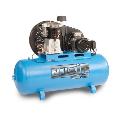"NuAir Belt Driven Lubricated ""Workshop Series"" NB7/200 FT5 Stationary Air Compressor 5.5HP 4Kw 415V~50hZ"