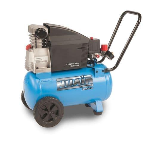 NuAir F1-241/24 Tech Portable Air Compressor Direct Drive 24 Litre Receiver 8.5 CFM 240V~50hZ