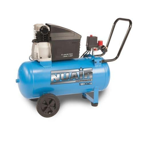 NuAir F1-260/50 Tech Portable Air Compressor Direct Drive 50 Litre Receiver 9.2 CFM 240V~50hZ