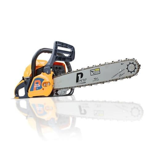 "P1PE P6220C Petrol Chainsaw 62cc Hyundai Engine 20"" Bar Easy Start Includes 2 Chains and Bag"