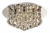 Chloe 6 Light Flush Fitting in Polished Chrome with Crystal Droplets - WW0031